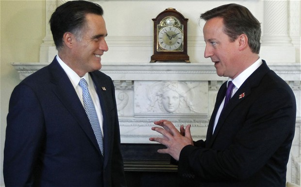 David Cameron and Mitt Romney talk inside 10 Downing Street