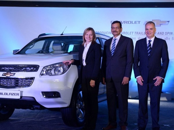 CEO Mary Barra, GM India MD and President Arving Saxena, and GM International President Stefan Jacoby