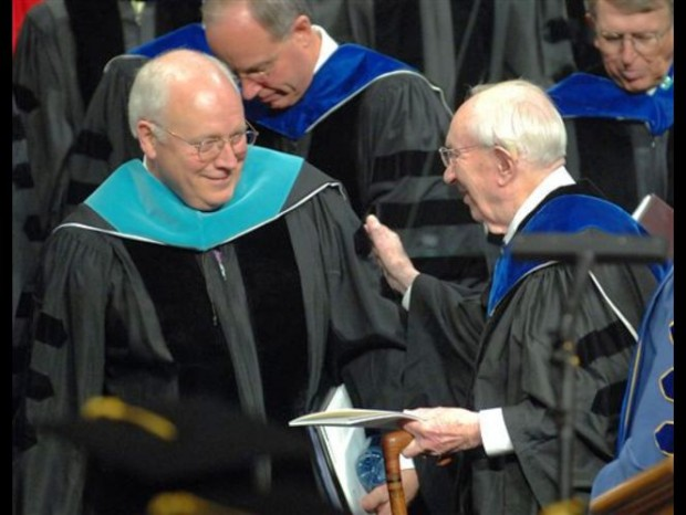 Vice President Dick Cheney, left, is greeted by Gordon B. Hinckley