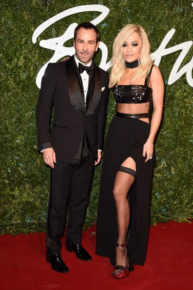 Tom Ford and Rita Ora attend the British Fashion Awards