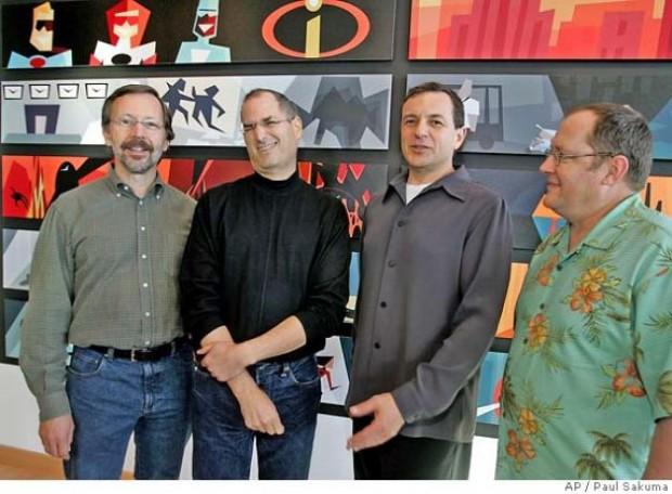 Ed Catmull, Steve Jobs, Bob Iger  With John Lasseter