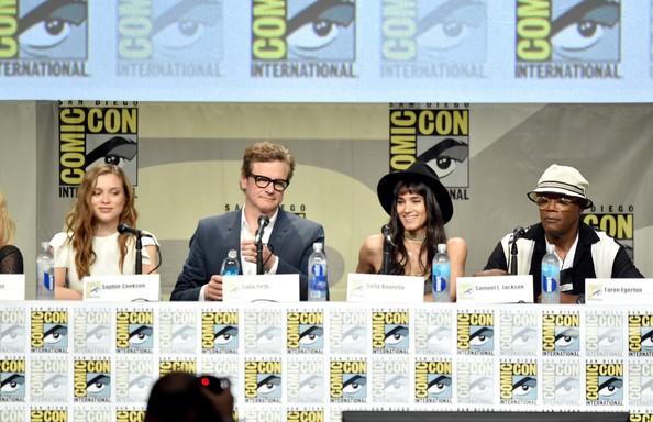 Samuel L. Jackson, Colin Firth, Sophie Cookson with Sofia Boutella at Comic Con