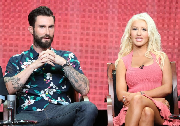 Christina Aguilera with Adam Levine Discussing on a Panel