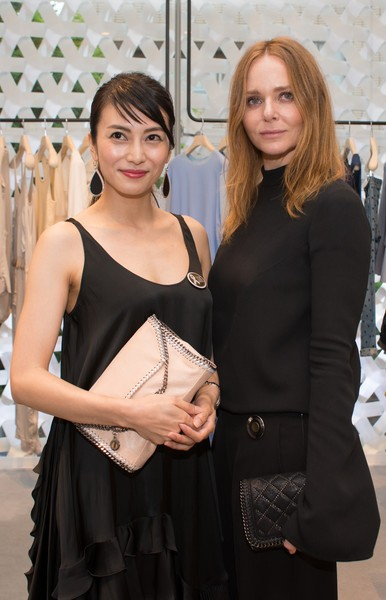 Kou Shibasaki (L) with Stella McCartney attend the opening party for Stella McCartney Aoyama Store