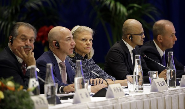 Andrew Liveris, Jeff Bezos, Satya Nadella, Dennis Muilenburg with Virginia Rometty
