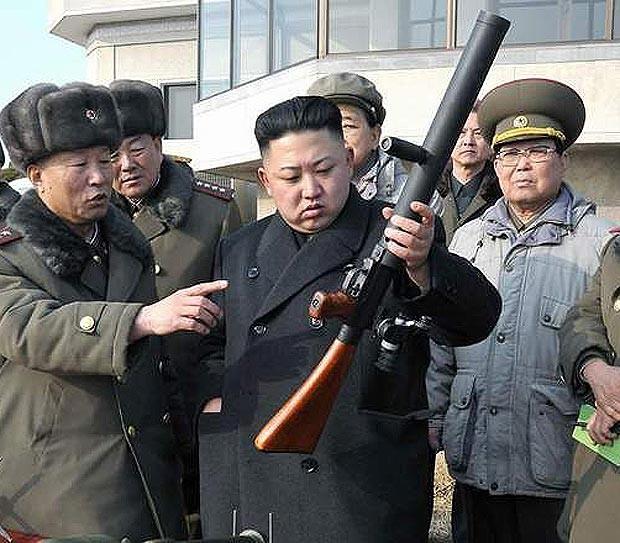 Kim Jong-un with a gun