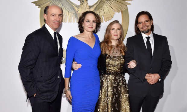Jon Kilik, Nina Jacobson,Suzanne Collins,Peter Craig at the Los Angeles premiere of Mockingjay