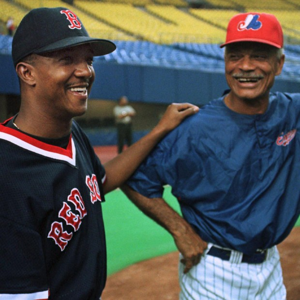 Pedro Martinez with Spos manager Felipe Alou