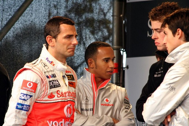 Lewis Hamilton With Pedro de la Rosa, Paul di Resta And Bruno Spengler