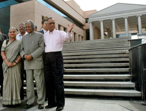 N.Murthy with Abdul Kalam at Infosys, Mysore