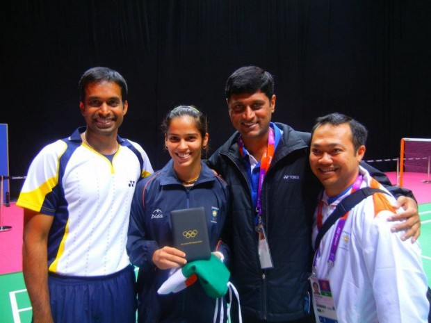 Saina with Coach Gopichand and Support Staff at London Olympics