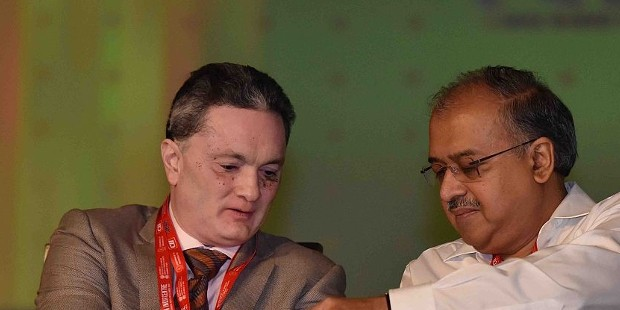 Dilip Shanghvi with Raymond Group Chairman Gautam Singhania