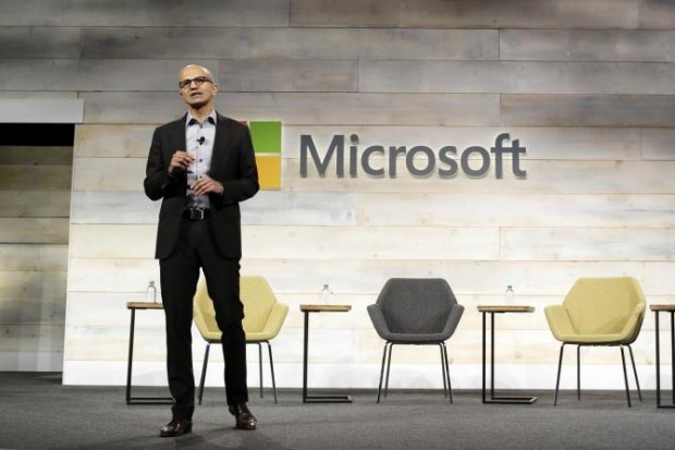 Satya Nadella speaks at his first annual shareholders' meeting in Bellevue, Washington