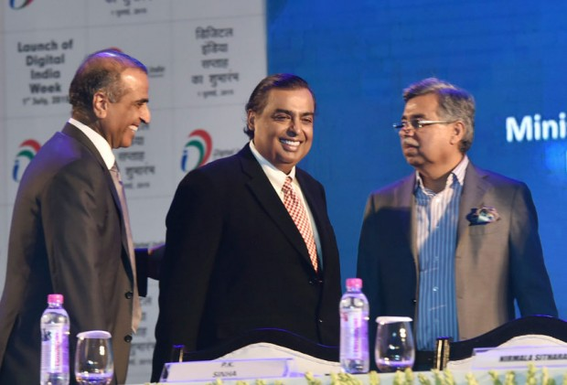 Sunil Mittal with Mukesh Ambani and Hero Motocorp. Chairman Pawan Munjal