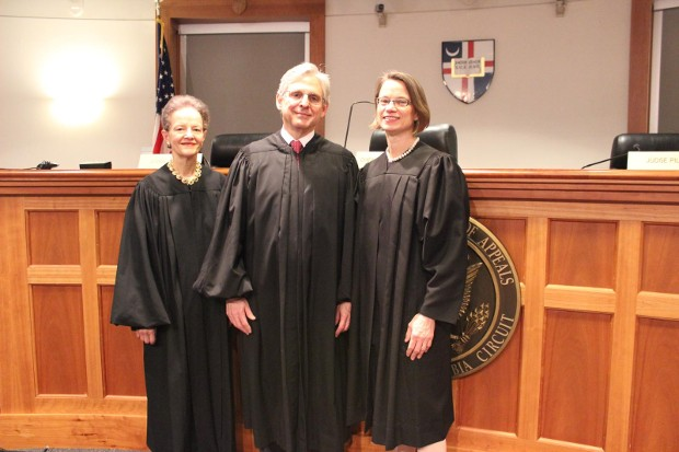 Chief Judge Merrick Garland With judges Judith Rogers and Cornelia Pillard