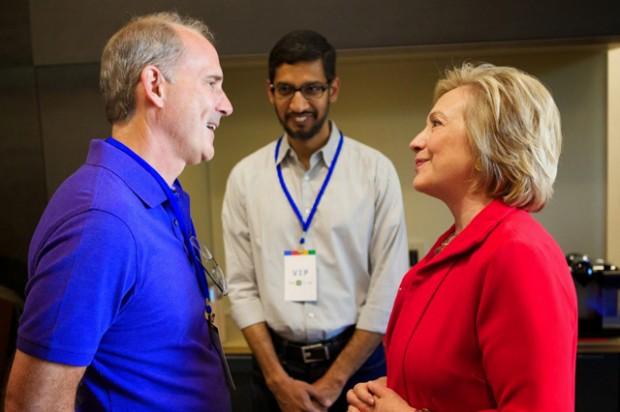 Pichai with Jonathan and Hillary Clinton