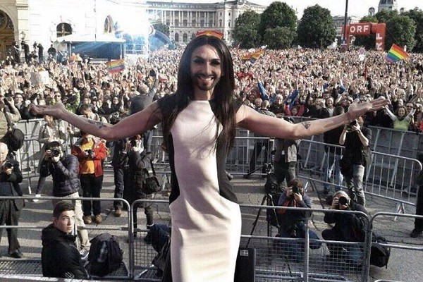 Conchita Wurst to  At Gay Parade