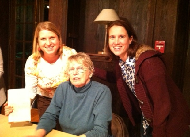 Kyla and Heather get Lois Lowry to sign a copy of The Giver