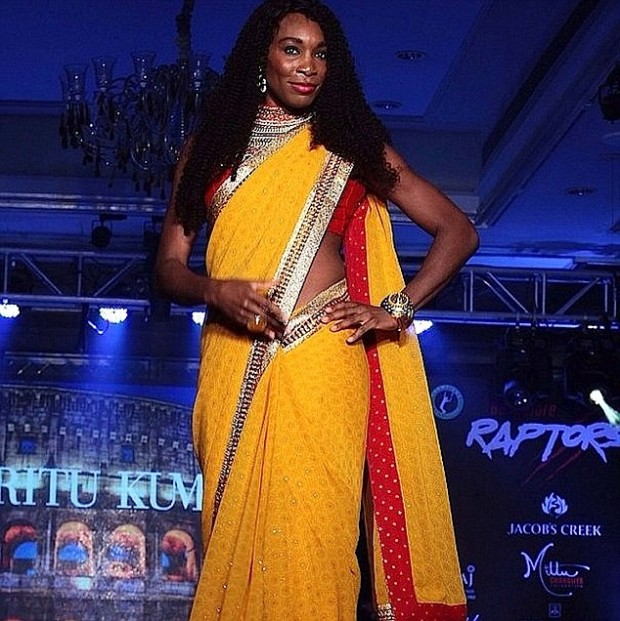 Tennis star Venus Williams wears golden sari to dance on stage