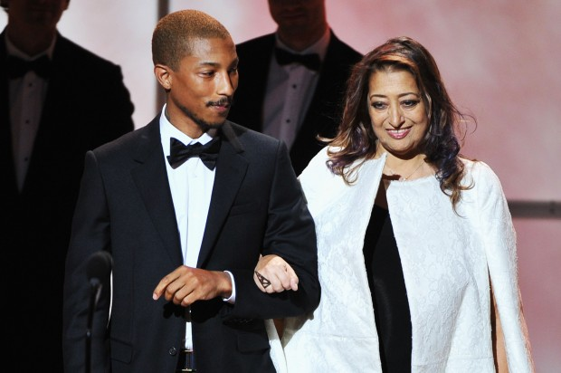 Zaha Hadid with Pharrell Williams at  Glamour Women of the Year Awards