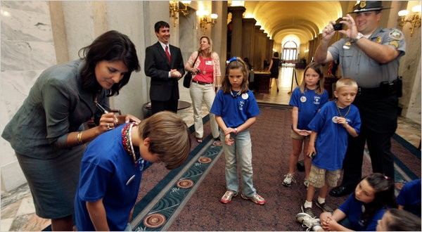 Nikki Haley of South Carolina recently signed autographs for third graders from Ballentine Elementary School in Irmo