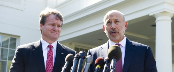 Lloyd Blankfein (R), Chairman and CEO of Goldman Sachs, and Brian Moynihan (L)