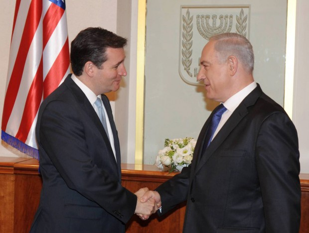 Israeli Prime Minister Benjamin Netanyahu meets with Texas senator Ted Cruz at Netanyahus office