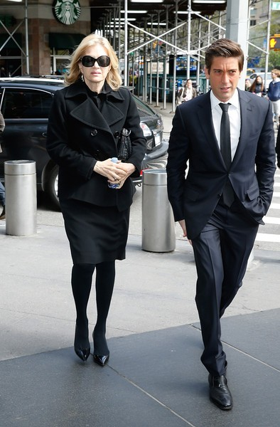 Diane Sawyer with David Muir attend Bob Simon Public Memorial
