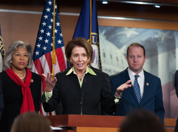 House Speaker Nancy Pelosi speaking in the Capitol in Washington