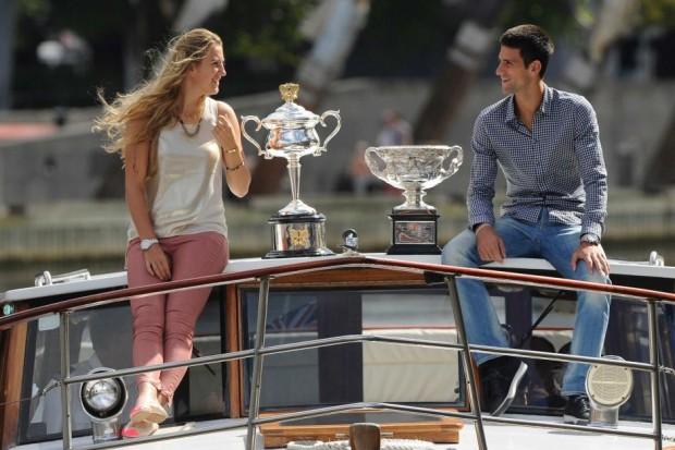 Azarenka and Djokovic with their Trophies