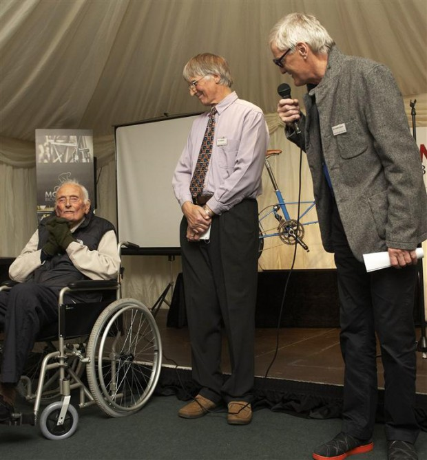 Sir James Dyson with Dr Alex Moulton and Tony Hadland