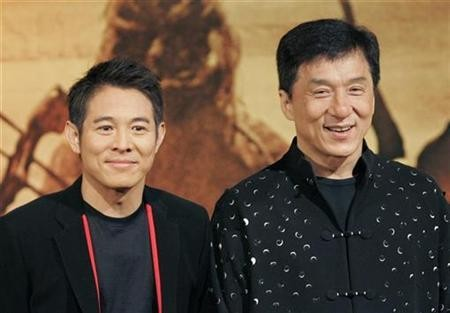 Jet Li with Jackie Chan during a News Conference