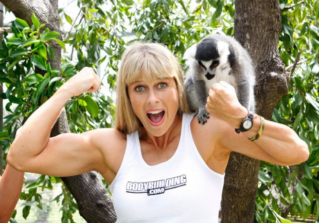 Terri Irwin Showing Her Muscles
