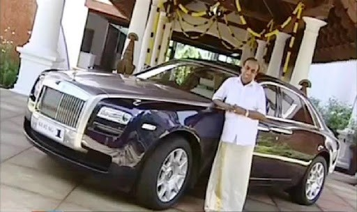 Ravi Pillai with His Rolls Royce Car