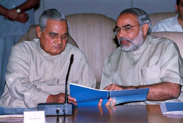 Modi with Then Prime Minister Vajpayee