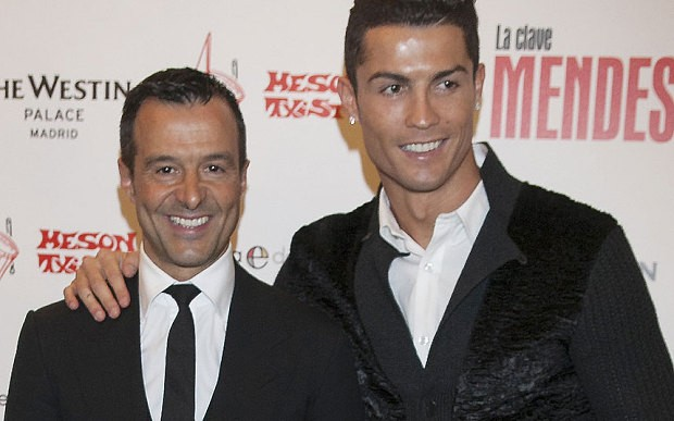 Ronaldo and Jorges Mendes at the Agent's Book Lanch