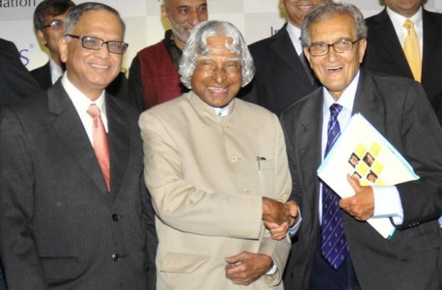 Narayana Murthy with Kalam and Amartya Sen at Infosys Science Foundation Cermony