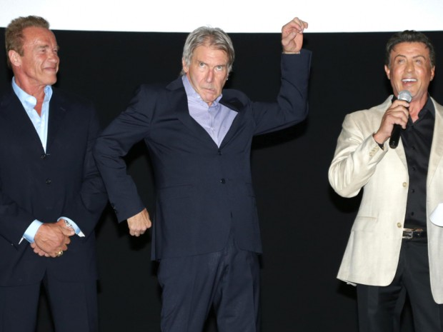 Harrison Ford with Arnold and Stallone at The Expandables 3 Premiere