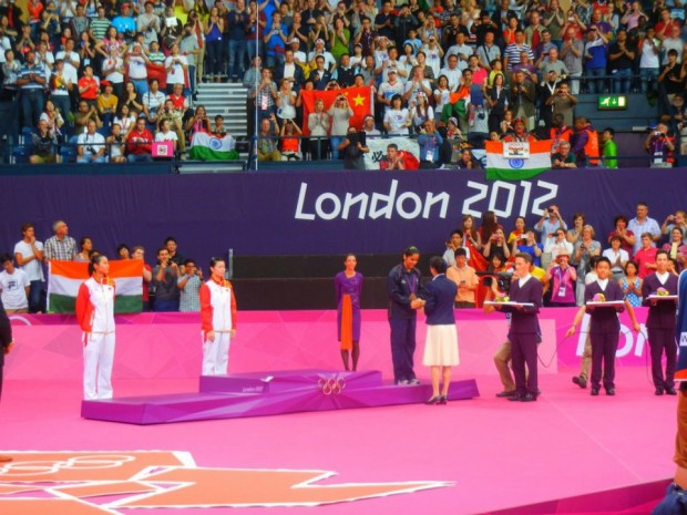 Saina Receiving Bronze Medal at London Olympics 2012