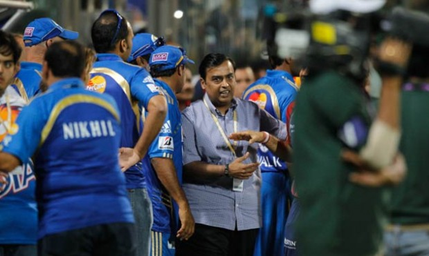 Mukesh Ambani with His Franchise Team in IPL