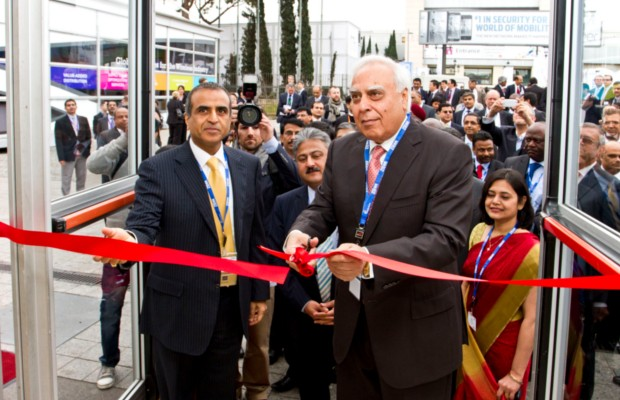 Sunil Mittal with Kapil Sibal opening Airtel Chalet at the Mobile World Congress 2012 in Barcelona