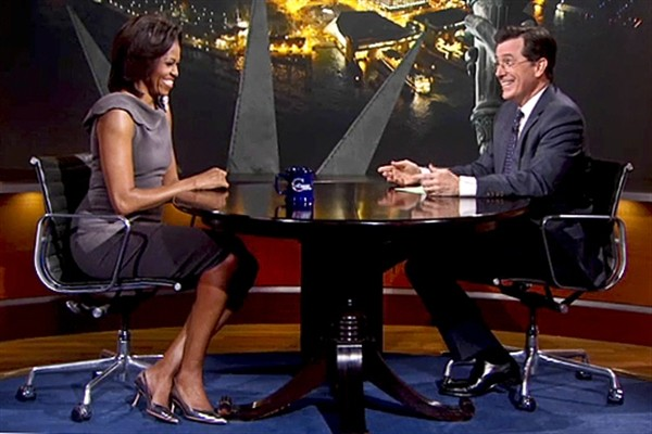 Stephen Colbert with Michelle Obama