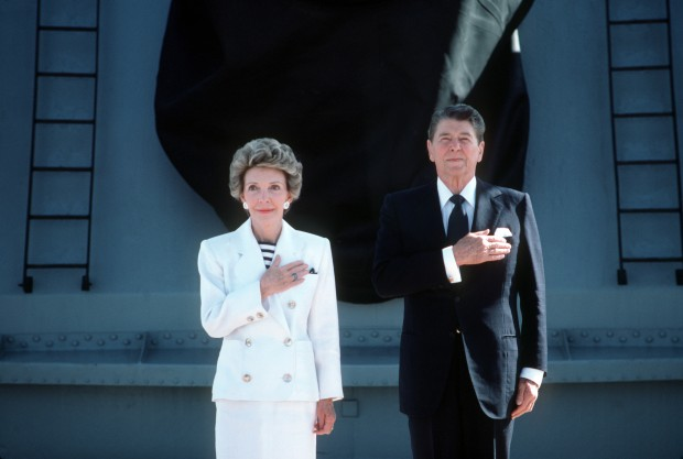 Ronald and Nancy Reagan Salute the Flag