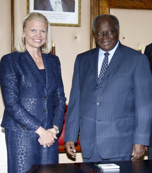 Ginni Rometty with Kenyan President Mwai Kibaki