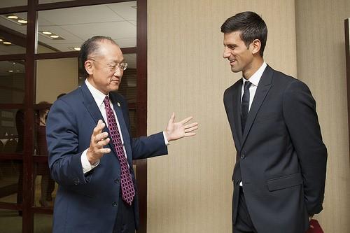 Jim Yong Kim Meets with Novak Djokovic