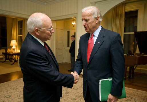 Vice President-elect Biden with Vice President Dick Cheney at Number One Observatory Circle