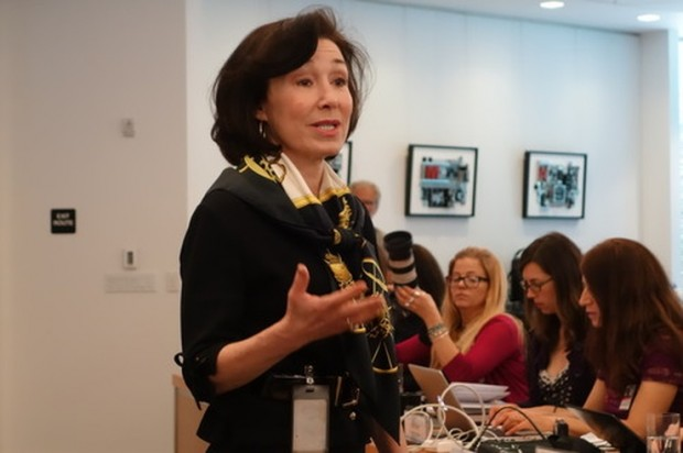 Oracle Co-CEO Safra Catz spoke Thursday at a press event at Oracle headquarters