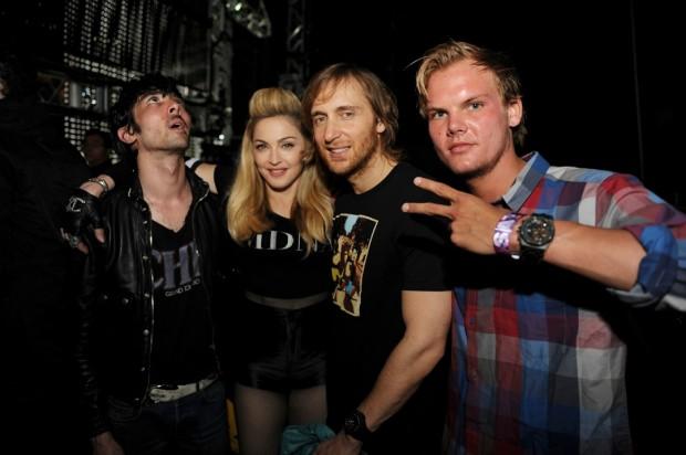 Xavier de Rosnay (Justice), Madonna, David Guetta with Avicii