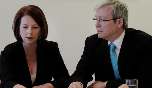Julia Gillard with Kevin Rudd