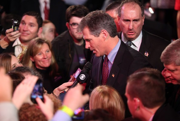 Scott Brown greets supporters after speaking at his victory celebration